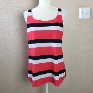 Ann Taylor Coral & Black Striped Tank Top